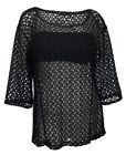 Plus Size 3/4 Sleeve Sheer Crochet Lace Top Black