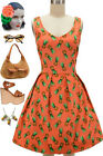 50s Style PINEAPPLE Print VNeck Fit-N-Flare Maui Wowie Poolside PINUP Sun Dress
