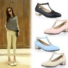 New Women Shoes Low Block Heel Ankle Straps Mary Janes Lady Buckle UK Size s462