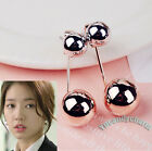 QUALITY Korean TV PINOCCHIO Back Drop Ball Earrings Rose Gold P Made in Korea