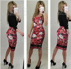 Womens Celebrity Red Floral Spring Mesh Stretch Diva Strappy Bodycon Midi Dress