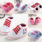 I LOVE DAD/MUM Non-slip KID Baby Boy Girl Crib Shoes Sneaker Toddler Infant #FK7