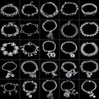 Women Jewelry Fashion 925 Sterling Silver Plated Charm Chain Bracelet Lots Style