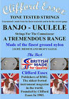 UKULELE-BANJO STRINGS. A COMPREHENSIVE RANGE. MEDIUM GAUGE - MADE IN BRITAIN.