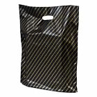 BLACK AND GOLD STRIPE GIFT BAGS BOUTIQUE SHOP PLASTIC CARRIER BAG 10x12