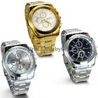 New Men's Fashion Analog Stainless Steel Band Quartz Hours Casual Wrist Watch