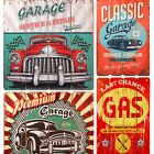 Retro/Vintage Wooden Plaque/Sign/Print/Poster Wall Art/Decor/Car/Classic/Gas/Old