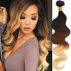 "UK Hot 3Bundle Ombre Remy Hair Extension 14""-30"" Body Wave Brazilian Human Hair"