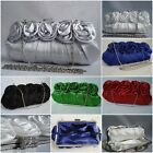 SATIN FLOWER FLORAL DIAMANTE CRYSTAL EVENING WEDDING PARTY PROM CLUTCH BAG
