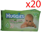 x20 Huggies 64 Natural Care Baby Newborn Skin Clean Wet Wipes for Nappy Change
