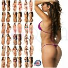 LADIES teeny COQUETA Brazilian micro Thong bikini Swimsuit G String SET SOLIDS