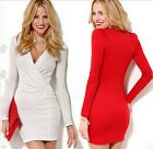 Sexy Deep V-Neck Slim White Tight Long Sleeve Pencil Lady Party Dress Skirt LJ