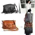 PU Leather Tassel Suede Fringe Shoulder Messenger Handbag Cross Body Bag Satchel