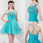 One Shoulder Short Prom Dress BEADED Evening Party Gowns Homecoming Club Dress