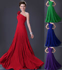 Sexy One Shoulder Long Evening Gown Bridesmaid Wedding Party Prom Dress UK 6~20