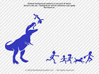 Stick Figure Family Decal Dinosaur Attacks T-Rex Eats Window Sticker - Large