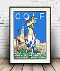 Golf Miami Biltmore hotel, Vintage advert poster reproduction.