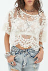 Size XS S M Ladies Womens Lace Top Short Sleeve Shirt Casual Beach Blouse Tops