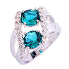 Green White Topaz Gemstone Fashion Jewelry Silver Ring Size 6 7 8 9 10 11 12 13