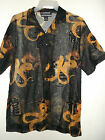 NWT MENS SEMI SHEER POLY MESH HAWAIIAN SHIRT DRAGON PRINT BLACK M OR WHITE 4XL