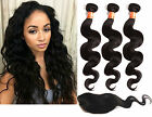 "Hot Brazilian Human Hair Extension Body Wave 3Bundles+Free 14"" Small Closure New"