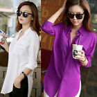 Women's Loose Baggy Long Sleeve Turn-Down Collar Chiffon Shirt Blouse Tops NEW