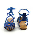 Blue Urban Chic Caged  Key Hole High Ankle Strap Flat Gladiator Sandals