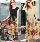 FD2154 Women Lady Floral BOHO Ball Gown Chiffon Summer Beach Short Sleeve Dress