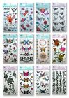 VINTAGE RETRO STYLE BODY ART TEMPORARY TATTOOS 12 DESIGNS ROSES TRIBAL BUTTERFLY