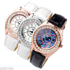 Crystal Round White & Rainbow Dial Quartz Wrist Watch Girls Gift,PU Leather Band