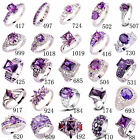 Fashion Amethyst White Purple Gemstone Nice Silver Ring Size 6 7 8 9 10 11 12 13