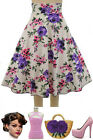 50s Style PLUS SZ BOMBSHELL Pinup PINK & PURPLE ROSE Print High Waist FULL Skirt
