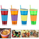 New Snack Drink In One Container Lid Straw Kids Snack Container Drink Cup 6362