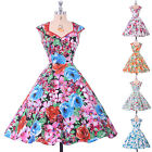 Vintage A-Line Floral Housewife 40s 50s Pinup Rockabilly Swing PROM Casual Dress