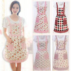 Pink Floral Pinny Lined Retro Pocket Fancy Princess Cooking Apron Chefs Kitchen
