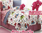 Victoria Girl Pink Zoo Safari Elephant Floral Twin/Full C...