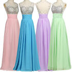 PINK BEADED Formal Long Evening Party Ball Gown Bridesmaid Prom Dress Size 6-18