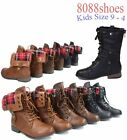 Girl's Kid's Plaid Fold Cuffed Low Heel Combat Lace Up Military Boot Size 9 - 4