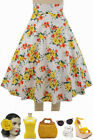 50s Style BOMBSHELL Pinup YELLOW BOUQUET Floral Print High Waist FULL Skirt