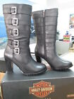 NEW Harley Davidson Womens Medium Black Leather Boots Chillion