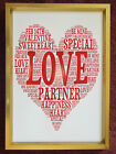 A4 PERSONALISED HEART SHAPED WORD ART PRINT - BIRTHDAY / MOTHERS DAY/ XMAS GIFT