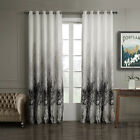 3QMart 2 Panel Jacquard Printed Grommet Window Curtain Eyelet Drapes Ready Made