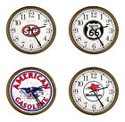 "FC393 GAS OIL THEMED LOGO 15"" ROUND WALL CLOCK CAPPUCCINO ESPRESSO FINISH FRAME"