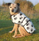 COSIPET POLYESTER FLEECE COAT WHITE WITH BLACK PAWS AND VELCRO FASTENING