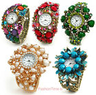 Multi Color Crystal Floral Decorated Brass Women