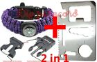 purple Paracord Survival Bracelet Rope w/ Compass Flint Fire Starter Whistle Kit