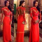 Ladies Sexy Lace Long Sleeve Maxi Evening Formal Cocktail Party Ball Gown Dress