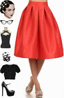 50s Style Burnt ORANGE Bombshell Pinup HighWaisted FULL Silhouette TAFFETA Skirt