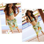 3Pcs Sexy Womens Floral Halter Swimwear Bikini Swimsuit Gauze Beach Bathers Set