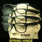 4 PAIR LOT READING GLASSES CLEAR LENS WAYFARER NEW SPRING HINGE STRENGTH PACK